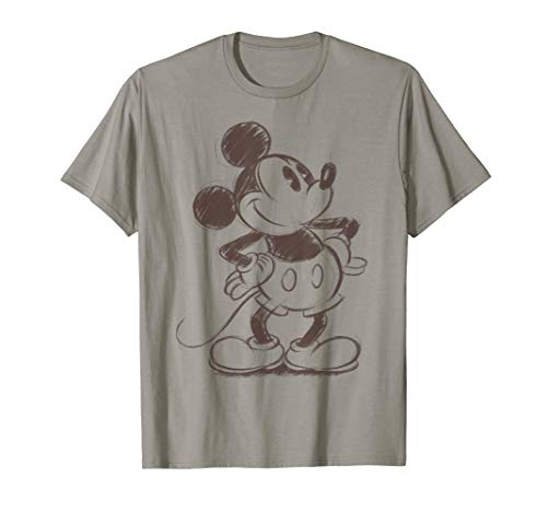 Disney Mickey Mouse Pencil Sketch Original Graphic T-Shirt
