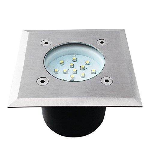 Lot de 5 spots LED encastrables au sol 1 W 14 LED carrés avec boîtier de montage pour l'intérieur et l'extérieur IP54