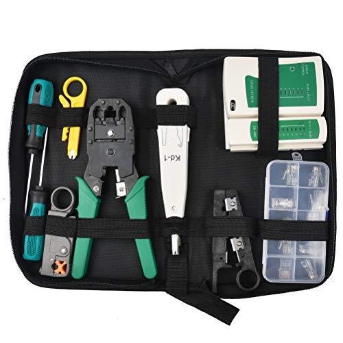 CENBEN Kit 11 en 1 de Herramientas de Reparación de Red Comprobador de Cable de Red para Profesionales de Mantenimiento de Ordenadores