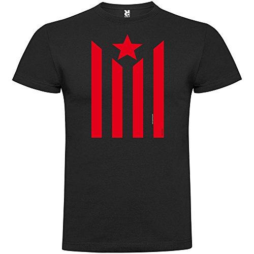 Camiseta Catalunya Estelada Manga Corta Hombre Negro 2XL