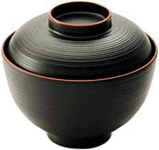 Japanese Traditional Style Miso Soup Bowl Lacquerware Bowl with Lid 4.25