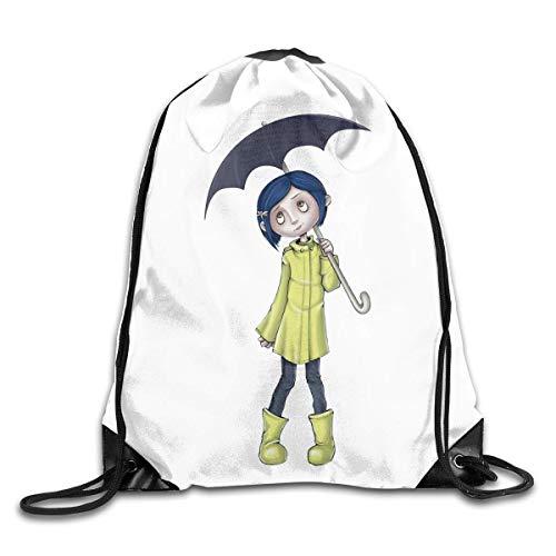 JHUIK Drawstring Bag Backpack,Coraline Fashion Sac à Dos Design épaule Sac à Cordon Homme Femme Sacs Blanc Taille Unique