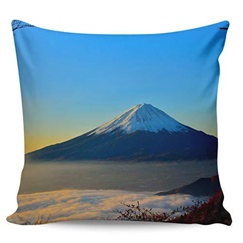 Scrummy Fundas de almohada de 24 x 24 pulgadas, espectacular Fuji Mountain Dreamy Dawn Sunrise Sunrise Sunset Golden Clouds Mist fundas de cojín cuadradas para decoración del hogar