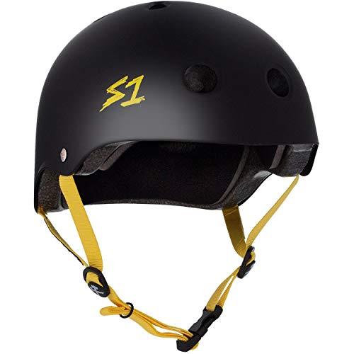 S1 Lifer Multi Impact Helm - Mat Zwart/Geel Band