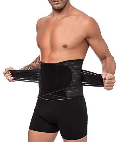 Channo Faja Lumbar Cinturón Lumbar para Espalda Hombre y Mujer Doble Ajuste Fuerte (Negro, XXL/XXXL)