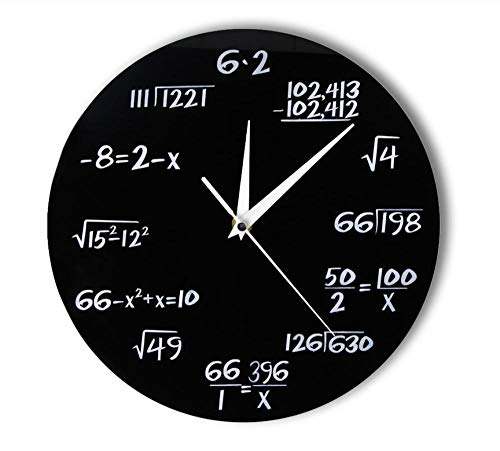 WJBKY Engineering Numbers Math Wall Clock Math Equation Decorative Clock Pop Quiz Wall Art Science Gift for Math Geeks and Teachers