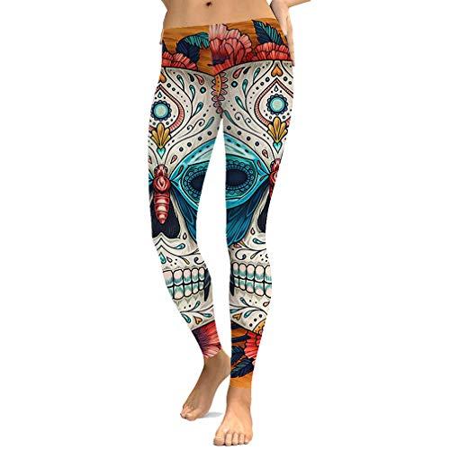 Yying Leggings Halloween Cráneo Leggins Impresos Pantalones Cintura Alta Mujeres Athleisure Push Up Sportleggings Pantalones Punk Góticos