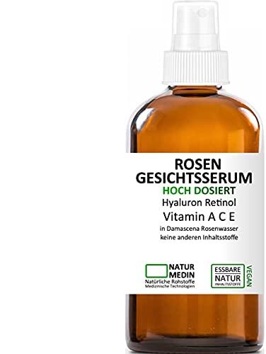 Rosenwasser GESICHTS-SERUM 50ml, Hyaluron-säure Vitamin A C E Retinol, Hochdosiert All-in-1 anti-aging Falten Augen-Gel Serum, 100{1fdafd7e16780e8b617d69516fd8f1b1c57aa5072f897710a0b0f88c4214409f} naturrein und essbare inhalsstoffe , Spray Glasflasche, nachhaltig