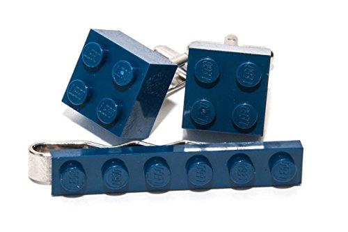 Bleu foncé Authentique Lego Pince à Cravate et Boutons de Manchette – Funky rétro Cool Boutons de Manchette fabriqué par Jeff Jeffers