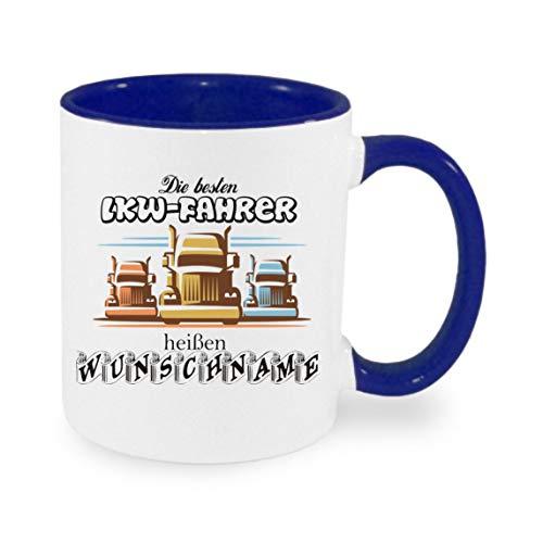 Crealuxe (Wunschname) die besten LKW Fahrer heißen - Kaffeetasse mit Motiv, Bedruckte Tasse mit Sprüchen oder Bildern