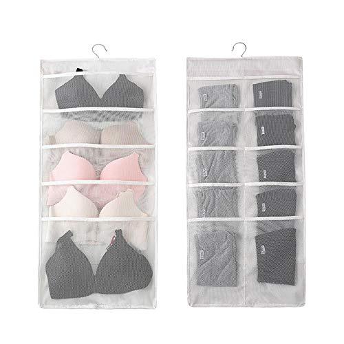 30 Pocket Transparante Hangende Zak Sok BH Binnen Hanger Hanger Opbergtas Muurbevestiging Kast Plank Opbergvak-Wit