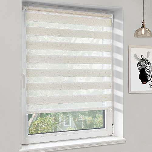 Sanfree Duo Rollo ohne Bohren klemmfix, Doppelrollo für Fenster und Tür Klämmträger Doppellagiger Rollo, Sonnenschutz Seitenzugrollo Sichtschutz, Leinen 65x120cm (BxH)
