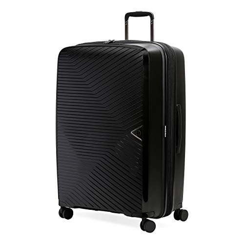SwissGear 8836 Durable Expandable Spinner Luggage, Black, Checked-Large 28-Inch