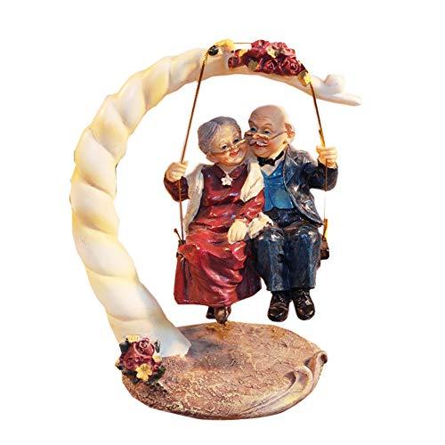 letsgood Creative Handmade Figurines Resin Elderly Couple Statue for...