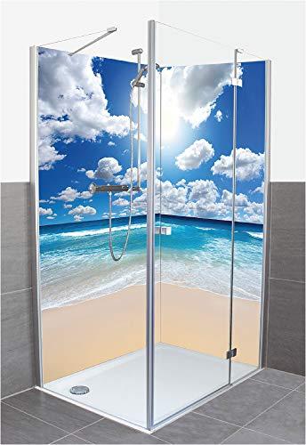 Artland Duschrückwand Eck mit Motiv Fliesenersatz Alu Rückwand Dusche Duschwand Bad 2 Segmente Wunschmaß Karibik Malediven Strand Meer Sonne T8KG