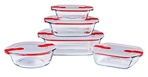 Pyrex® - Cook & Heat - Lot de 5 plats en verre avec couvercles hermétiques, spécial micro-ondes - Sans BPA