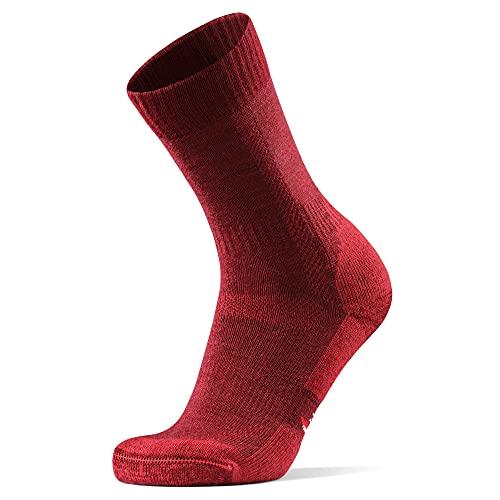 Merino Wool Hiking & Walking Socks 1 pack (Wine Red, US...