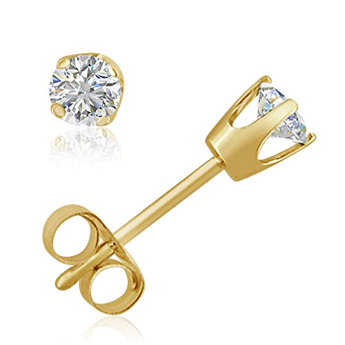 AGS Certified 1/4ct tw Round Diamond Stud earrings in 14K Yellow Gold