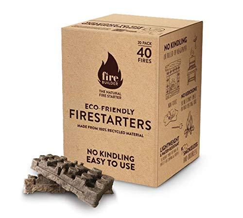 FireBuilder – milieuvriendelijke, natuurlijke vuurstarter – geen aanmaakmateriaal nodig; rookvrij en geurloos voor sneller vuur; ideaal voor open haarden, barbecues, open haarden en houtkachels Bis zu 40 feuer