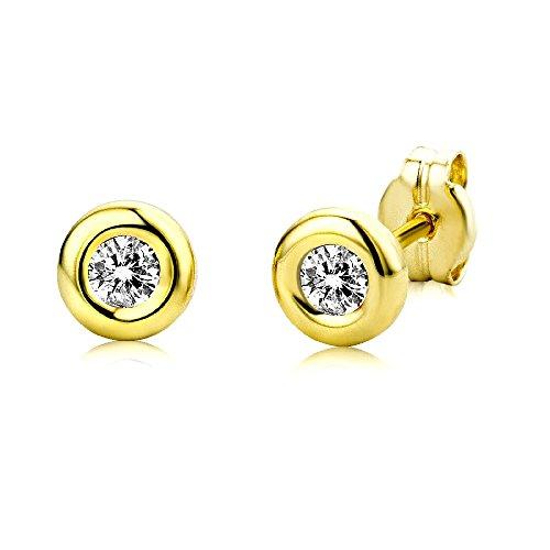 Miore Ohrringe Damen runde Ohrstecker mit Solitär Zirkonia Steine aus Gelbgold/Weißgold 9 Karat / 375 Gold, Ohrschmuck (Gelbgold)