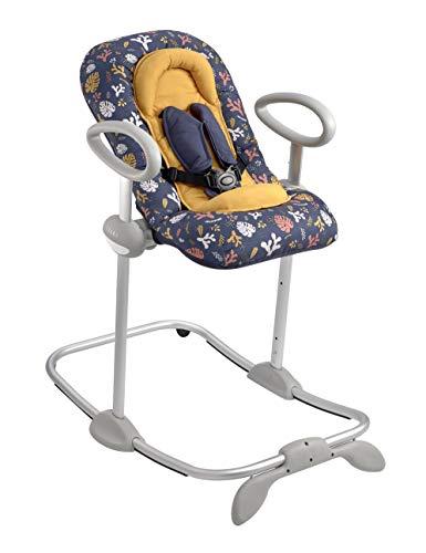 Béaba - Up & Down III - Babywippe - Wippe für Babys und Kleinkinder - Höhenverstellbar - Schaukelfunktion und 4-fache Höhenverstellung - Für Mädchen und Jungen - Ergonomisch und sicher - Botanical