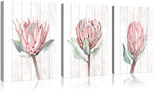 3 Pieces Protea Flowers Vintage Wood Canvas Wall Art for Bathroom Bedroom Modern flowers Print product image
