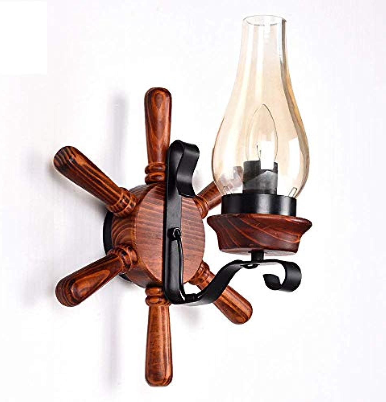 ZLHLL Vintage Massivholz Wandlampen, antike LED Kerzenglas Rudder Persnlichkeit Wohnzimmer Bar Studie Wandleuchte moderne minimalistische Esstisch Cafe Aisle Wandleuchte