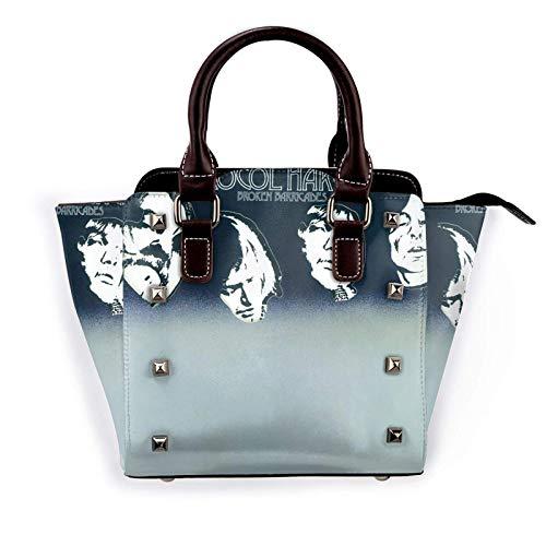 Procol Harum Womens Pu Leather Rivet Tote Shoulder Bag Crossbody Bags Handbags Purse with Adjustable Strap