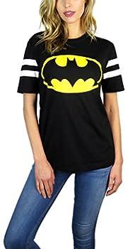 BATMAN DC Comics Womens Varsity Football Tee Black  Black Small