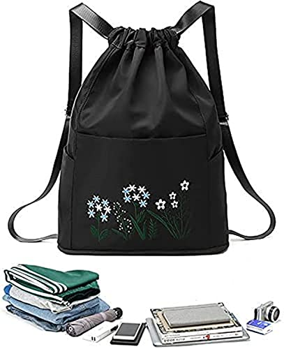 Multifunctional Fitness Travel Bag, Portable Lightweight Waterproof Oxford Fabric Embroidered Sports Backpack Collapsible Dry and Wet Separation Weekend Bags for Women (black)