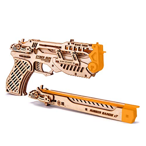 Wood Trick Cyber Gun 3D Wooden Puzzle - Rubber Band Gun Pistol - Shoots up to 20 feet - Wood Model Kit for Adults and Kids to Build - 14+
