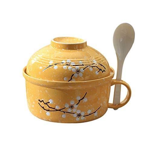 Soep Kuip Met Handgreep in Japanse Stijl Met Grote Capaciteit Instant Noodles Keramische Met Deksel Spoon Magnetron Makkelijk Schoon,Yellow