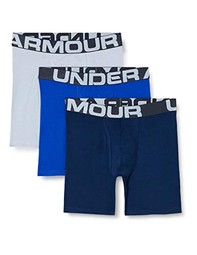 Under Armour Charged Cotton 6In 3 Pack Ropa Interior, Hombre, Azul (Royal/Academy/Mod Gray Medium Heather 400), S