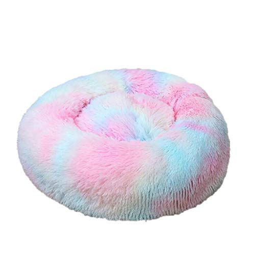 Thicken Cat Bed Dog Bed Fluffy Pet Bed Calming Bed Cat Nest Soft Plush Home For Small Medium Large Pet,Winter Warm Cuddler Kennel Sofa,Anti-Slip Thicken Bottom,-Relief Improved Sleep (Multicolor,XL)