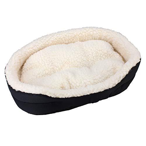 Arquivet Cuna para conejos - Cuna tipo peluche para conejos - Cama suave y cálida - Hamaca para conejos y pequeños mamíferos - Color negro - 40 x 24 x 12 cm