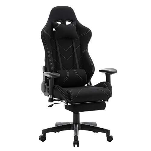 WOLTU® Racing Stuhl BS21sz Gaming Stuhl Bürostuhl Schreibtischstuhl Sportsitz mit Kopfstütze und Lendenkissen, Armlehne verstellbar, mit Fußstütze, Stoffbezug, höhenverstellbar, Schwarz