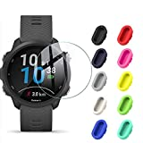 [10+2 Pack] Compatible Garmin Forerunner 245/245 Music Tempered Glass Screen Protector with Anti-dust Plug, Silicone Charger Port Protector + Clear Screen Protective Film for Garmin Forerunner 245
