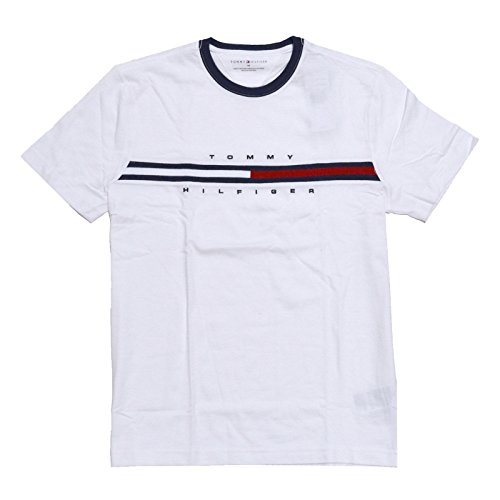 Tommy Hilfiger Mens Classic Fit Big Logo T-Shirt (Large, Classic White)