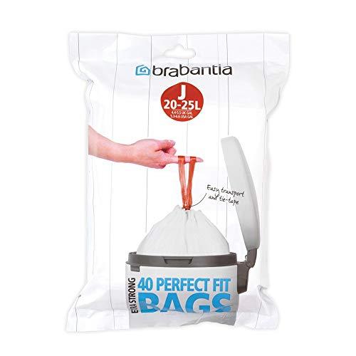 Brabantia 115608 Spenderpackung PerfectFit Müllbeutel Code J, 40 Stück, Plastik, Weiß, 20-25 Liter