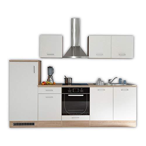 Stella Trading Andy - Blocco Cucina Senza elettrodomestici, in Legno, 270 x 195 x 60 cm, Colore Bianco