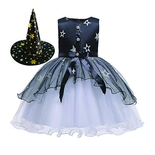 Coogg Halloween, carnaval, cosplay kostuum, kinderfeestjurk, meisjes, heks, borduurwerk, blaasjurk + hoed, kind, prinses jurk
