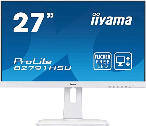 Iiyama PROLITE B2791HSU-W1, 68.6 cm (27 Zoll) IPS LED-Monitor 16: 9 (VGA, HDMI, DisplayPort, USB2.0, Ultra-Slim-Line, Höhenverstellung, Pivot) Weiß