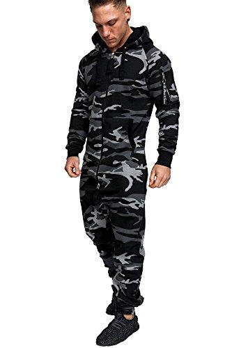 Amaci&Sons Herren Overall Jumpsuit Jogging Cargo-Style Onesie Trainingsanzug Camouflage 3006 Camouflage Schwarz S