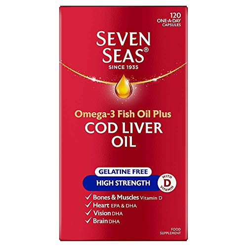 Seven Seas Cod Liver Oil High Strength Gelatine-Free Fish Oil with Omega-3 and Vitamin D, 120 Capsules Supplements