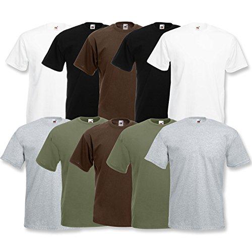 Fruit of the Loom 10 T Shirts Valueweight T Rundhals S M L XL XXL 3XL 4XL 5XL Übergröße Diverse...