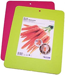 """Linden Sweden Flexible Cutting Board 2-Pack - Lays Flat for Secure Work Surface - Extra-Thick for Durability - BPA-Free and Food-Safe - 14.5 x 11.5"""", Lime/Pink"""