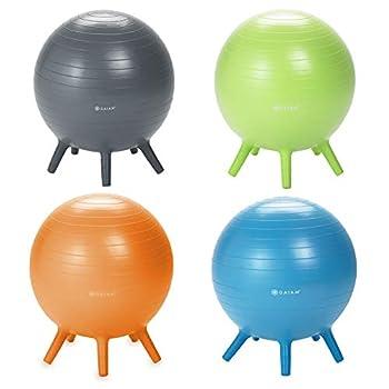 Gaiam Kids Stay-N-Play Children s Balance Ball - Flexible School Chair Active Classroom Desk Alternative Seating Blue Orange Junior Lime Junior and Grey 52cm