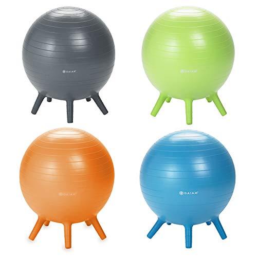 Gaiam Kids Stay-N-Play Children's Balance Ball - Flexible School Chair Active Classroom Desk Alternative Seating, Blue, Orange Junior, Lime Junior and Grey, 52cm