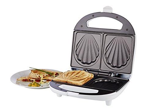 Korona 47017 Sandwich Maker in weiß – Sandwichtoaster für 2 Sandwiches; Muster Muschel
