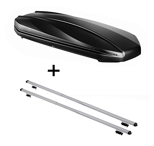 VDP DACHBOX Strike 440 liter mat zwart + dakdrager Rapid compatibel met Volkswagen Polo IV (9N3) Fun (5-deurs) 03-08